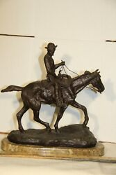 Vintage Signed Cm Russell Bronze Statue Will Rogers Unknown Edition