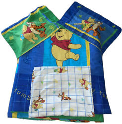 Vtg Winnie The Pooh Full Comforter Flat Sheet And Pillow Cases Reversible Bedding