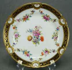 Set Of 6 Royal Vienna Hand Painted Floral Cobalt And Gold Dessert Plates C. 1808