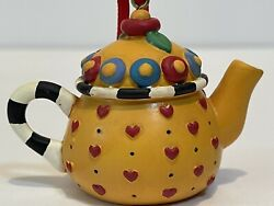 Mary Engelbreit Miniature Teapot Ornament Yellow Red Hearts Flowers Me Ink