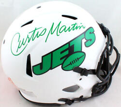 Curtis Martin Signed Ny Jets F/s Lunar Authentic Helmet- Psa/dna Green