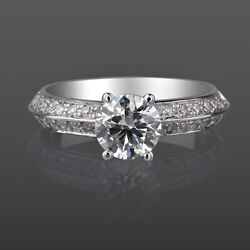 Natural 14k White Gold 1.25 Carats Vvs Diamond Solitaire Accented Ring 4 Prong