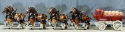 8 Clydesdale Horse Team And Anheuser Busch Budweiser Beer Wagon By Metlox Pottery