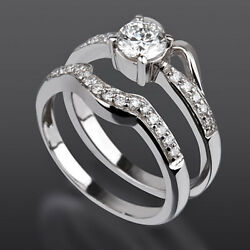 Band Set Diamond Ring Solitaire And Accents 14 Karat White Gold 1.36 Carat Natural