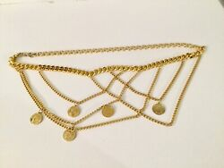 80's French Republique Francaise Faux Gold Coins And Gold Chain Links Vintage Belt