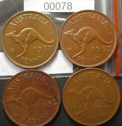 Australia Penny Sets,1951m,1952p,1953m,1953p See Images For Grade