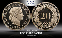 1984 Switzerland 20 Rappen Ngc Pf 69 Ultra Cameo Proof Finest Known