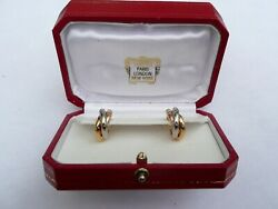 Fab Boxed Trinity Tri Colour 18ct Gold Clip On Earrings 18mm Dia