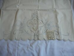 Nwt Set Of 2 Vintage Off White Blue Embroidered Floral Standard Pillowcases