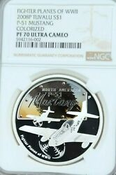 2008 Tuvalu Silver 1 Dollar Wwii Fighter Plane P51 Mustang Ngc Pf 70 Ultra Cameo