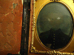 1/9 Ambrotype Civil War Soldier Ghostly Image Gold Tinting In Full Complete Case