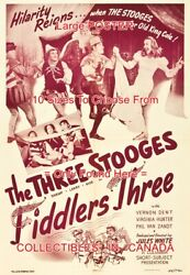 Fiddlers Three 1948 Three Stooges Hilarity Reigns = Poster 10sizes 17-4.8 Ft
