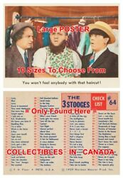 3 Three Stooges 1959 64 Check List = Poster Trading Card 10 Sizes 17 - 4.5 Ft
