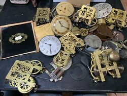 Huge Lot Antique Clock Movements Parts Repairs As Is Thomas Sessions Telecrhon