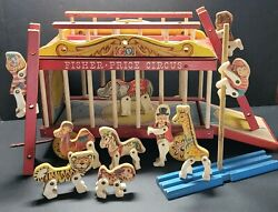 Vintage Fisher Price Wooden Circus Wagon Pull Toy W/ten Performers Pole Ladders