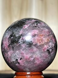 RHODONITE SPHERE Pink Black Mineral Orb Reiki Heart Chakra Crystal Witch Decor