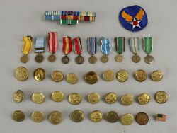 Us Military Army Wwii Korea War Service Medals Ribbon Bar Patch Brass Buttons+