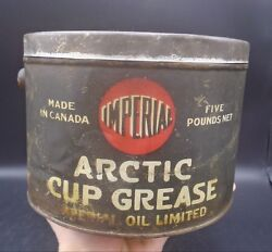 Rare 1920's Vintage Imperial Arctic Cup Grease 5 Lbs. Can Imperial Oil Limited