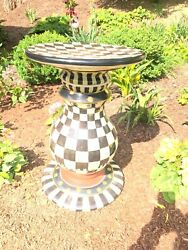 Mackenzie Childs Courtly Check Table Pedestal New