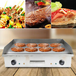 4.4kw 110v Commercial Electric Grill Griddle Bbq Teppanyaki Hot Plate 72.7x40cm
