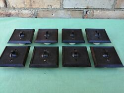 8 X Gc 1930s Brown Bakelite And Porcelain Light Switches 7 X 1way 1 X 2way