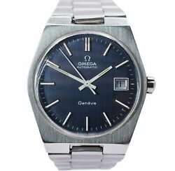 Vintage Omega Geneve Automatic Gentand039s Watch Ref. 166.0099 Blue Dial