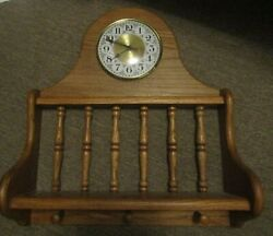 Oak Shelf With A Clock 3 Spots For Hats Or Coats Made In Lebo Kansas 18 X 20.5