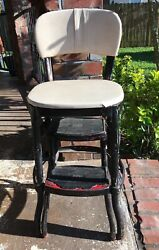 Vintage Cosco Kitchen Step Stool Chair Off White Metal Pull Out Steps