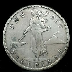 1910-s Silver One Peso Philippines, United States Administration Coin Km 172