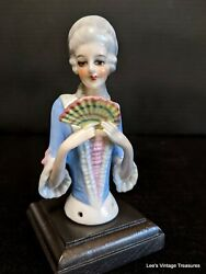 Antique Half Doll, Fasold And Stauch Pincushion Doll, Half Doll With Fan, Stunning