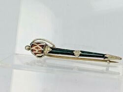 Solid Silver Scottish Claymore Sword Brooch Pin With Red And Green Inset Stone