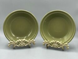 """Two Longaberger Woven Traditions Sage Green 7 1/4"""" Pie Plates Or Bowls Euc"""