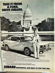 Subaru Sports Coupe With Susan Ford / Old Bushmills Whiskey Vtg 1979 Ad,