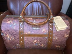 Patricia Nash Leather Canvas Floral Map Milano Travel Weekender Tote Duffel Bag