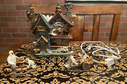 Vintage Halloween Ghoulsville House W/ Figurines And Light Hand Painted Porcelain