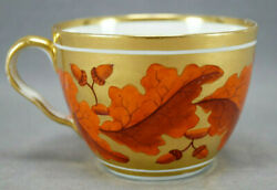 Derby Hand Painted Red Acorns And Leaves Gold Oversized Breakfast Cup C. 1806-1825