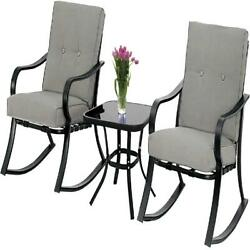 3 Piece Rocking Metal Chairs Bistro Set Washable Cushions Indoor Outdoor Safe