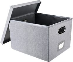 Collapsible File Storage Box With Lid Linen Filing Storage Organizer With Rail