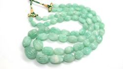 Aaa+ Precious Natural Russian Emerald Carved Melon Oval Nugget Bead 18 Necklace