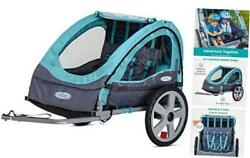 Bike Trailer For Toddlers Kids Single And 2-in-1 Double Seat Light Blue