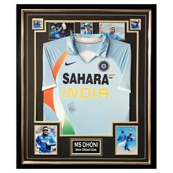 Signed Ms Dhoni Jersey Framed - India Cricket Icon Autograph +coa