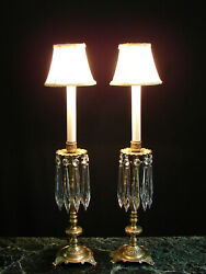 Vintage Pair French Brass Crystals Candlestick Boudoir Mantel Buffet Table Lamps