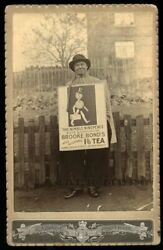 Rare Occupational Photo Lady Or Man Wears Tea Advertising Sign / Antique Banner