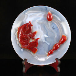 A Fine Collection Ancient Qing Chinese Agate Carving Fish Lotus Flower Plates