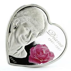 Cook Islands 5 Dollars A Rose In Memory Of Princess Diana Silver Coin 2007