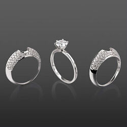 Flawless Authentic Vs1 Women Diamond Ring Matching Bands Set 14k White Gold 2 Ct