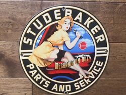 Vintage Studebaker Heavy Porcelain Sign 12andrdquo Gas And Oil Sign Gas Station Sign