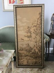 """vintage framed tapestry In Excellent Condition 27""""x59"""""""