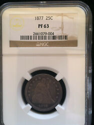 1877 Seated Liberty Quarter 25c - Ngc Proof Pf 63 - Low Mintage Rarely Seen Type