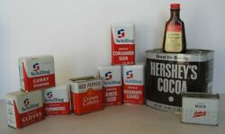 10 Vintage Items Spice Tins Hershey's Can Schilling Safeway Mccormick Extract